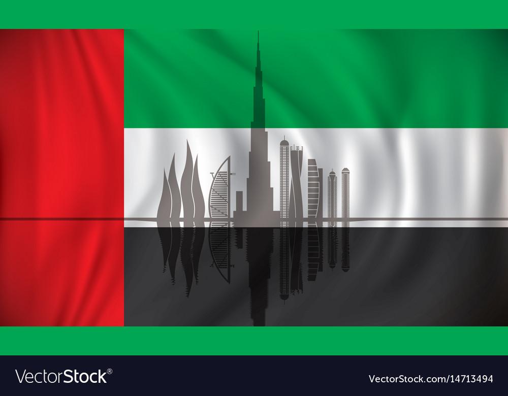 Flag of united arab emirates with dubai skyline