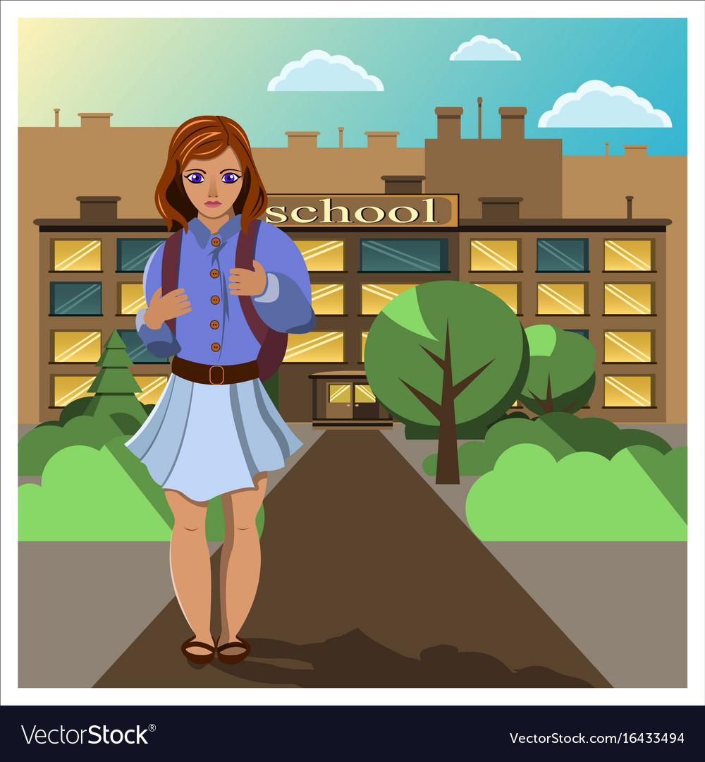 Girl comes home from school