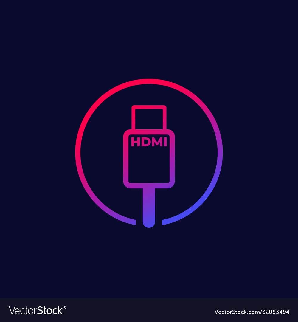 hdmi cable icon with gradient royalty free vector image hdmi cable icon with gradient royalty free vector image