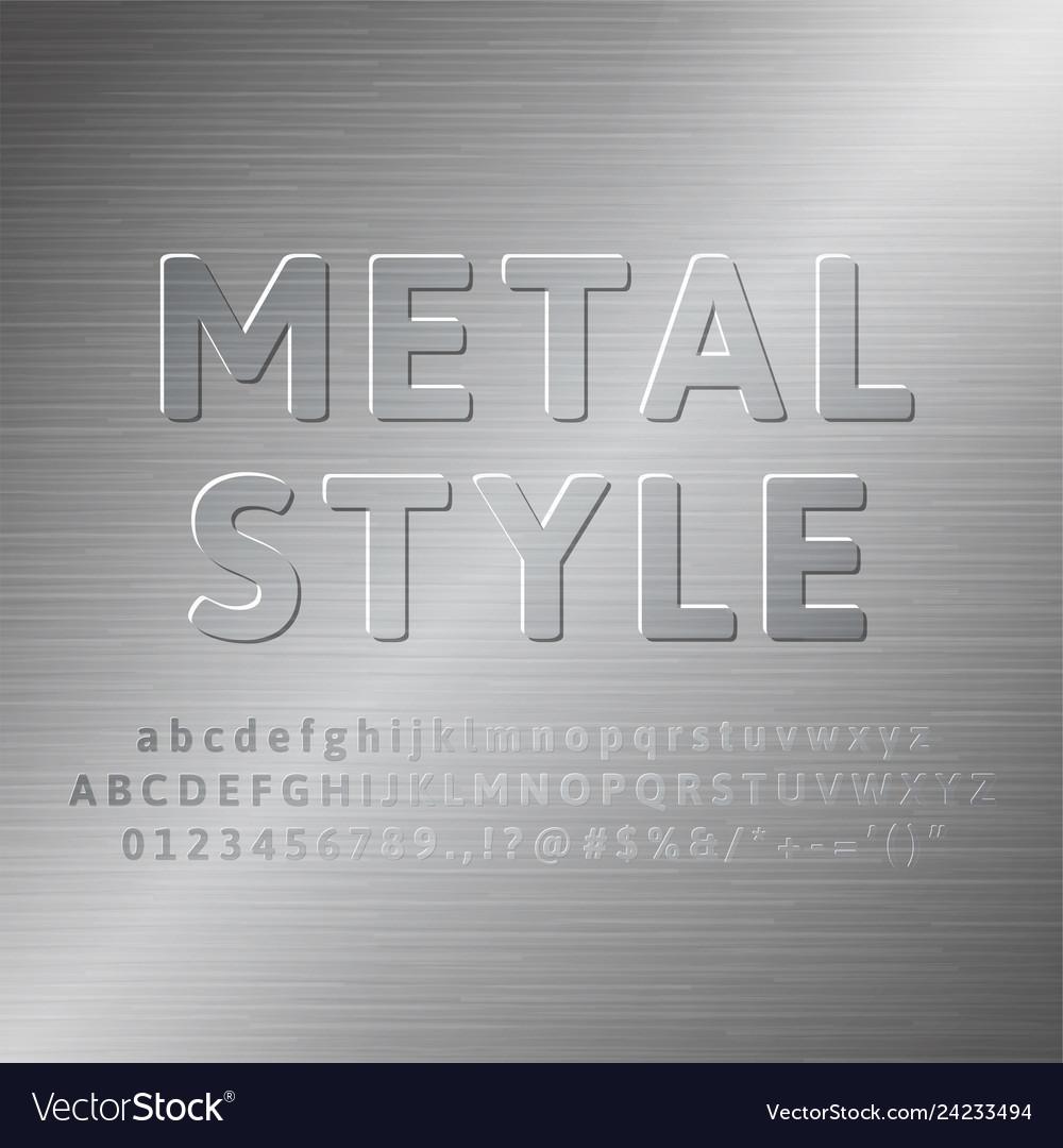 Metal alphabet 3d font effect