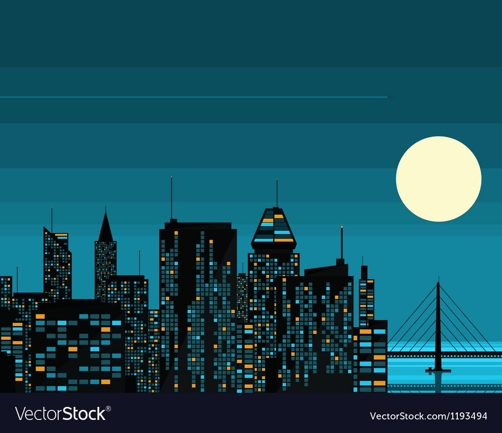 Night futuristic city with big moon