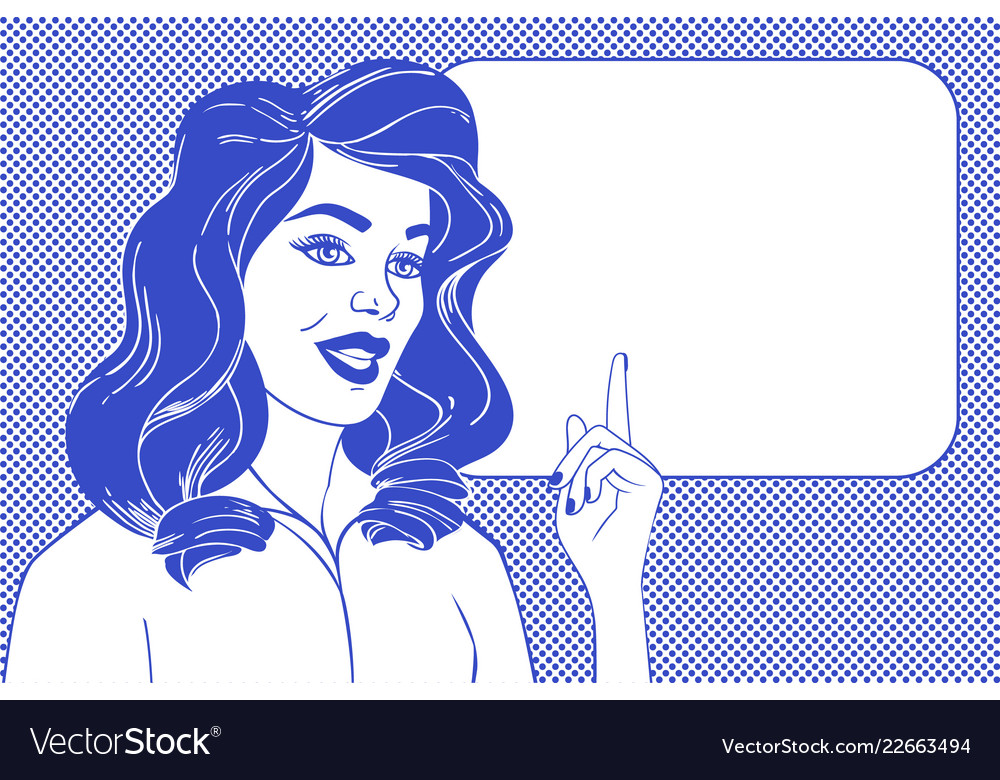Pop art woman and empty speech bubble