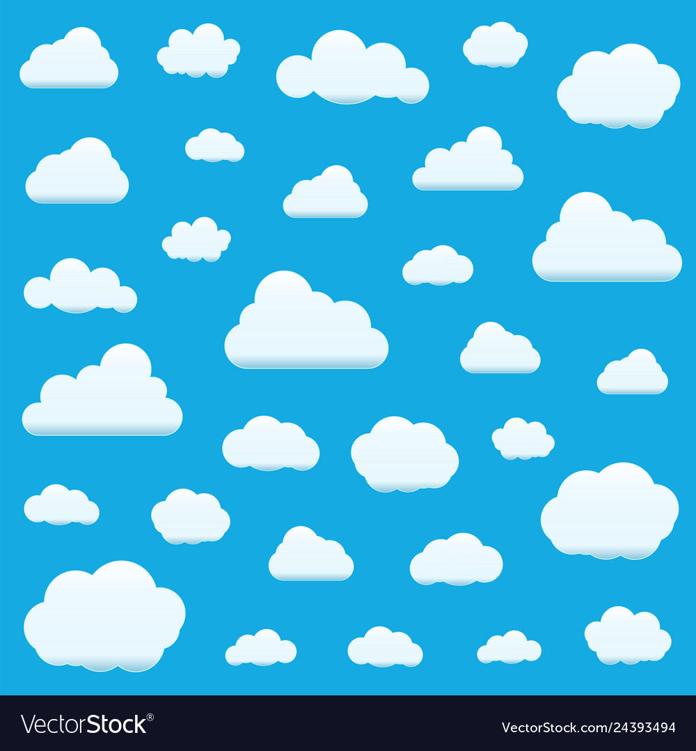 Set clouds isolated on sky background seamless