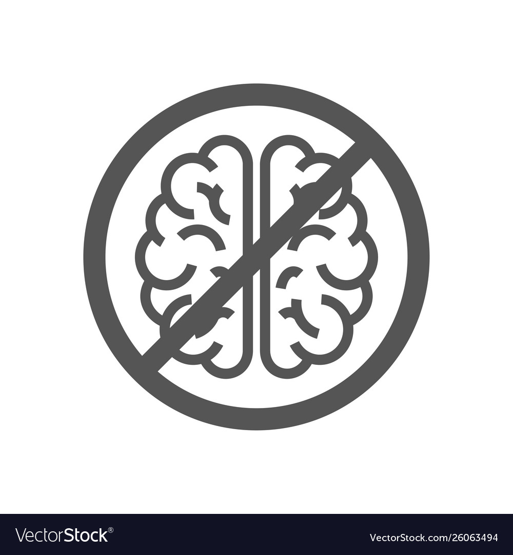 Sign with brain concept to deny thinking