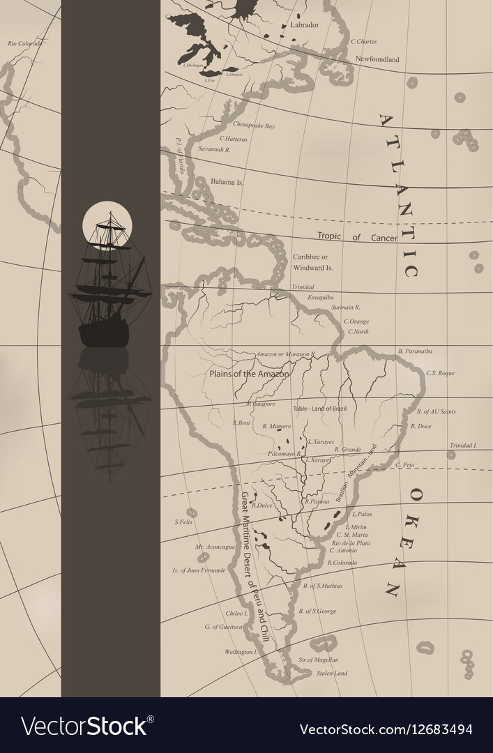 The old sea charts and a sailing ship vector image
