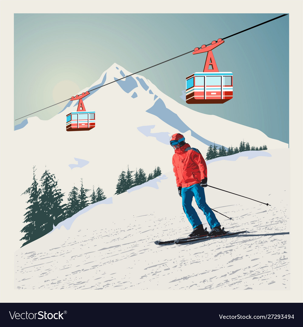 Winter poster background advanced skier