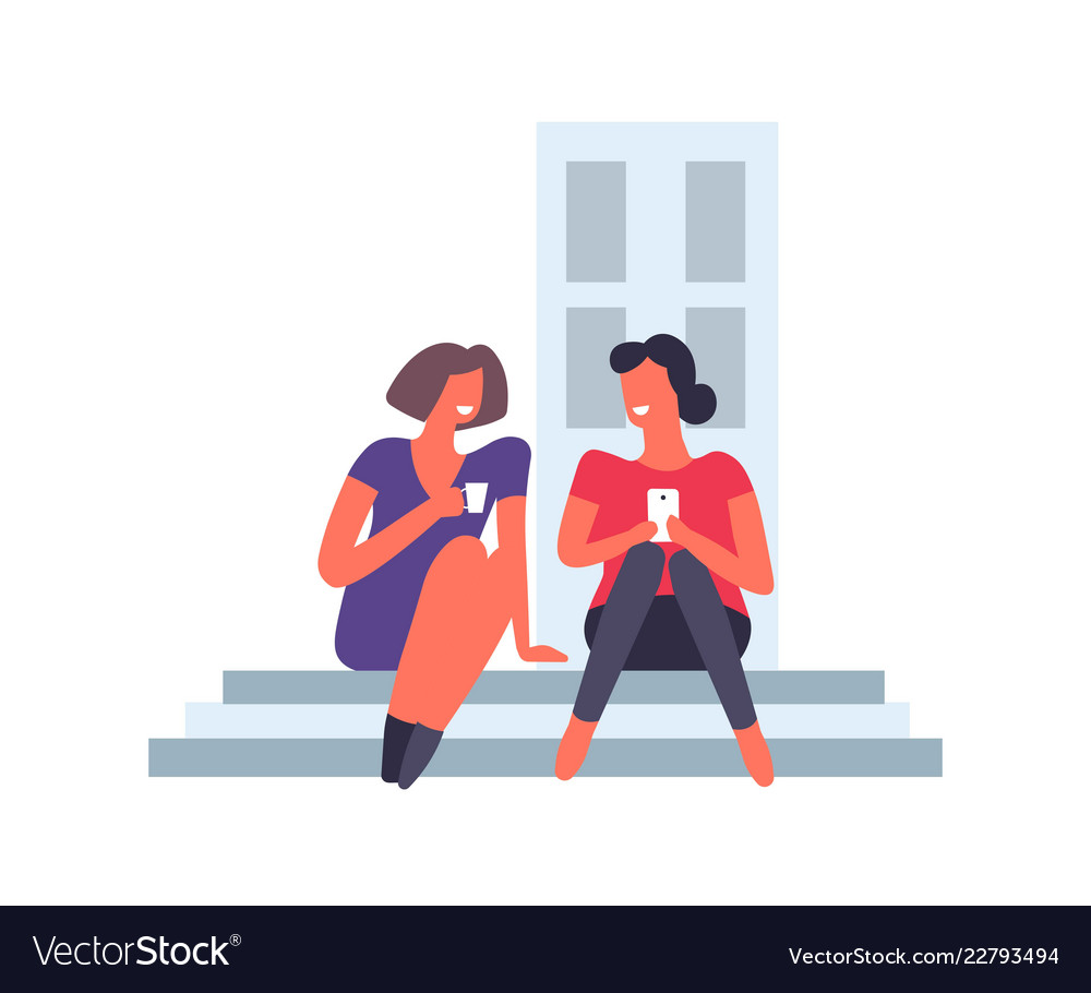 Woman female friends sitting chatting and smiling