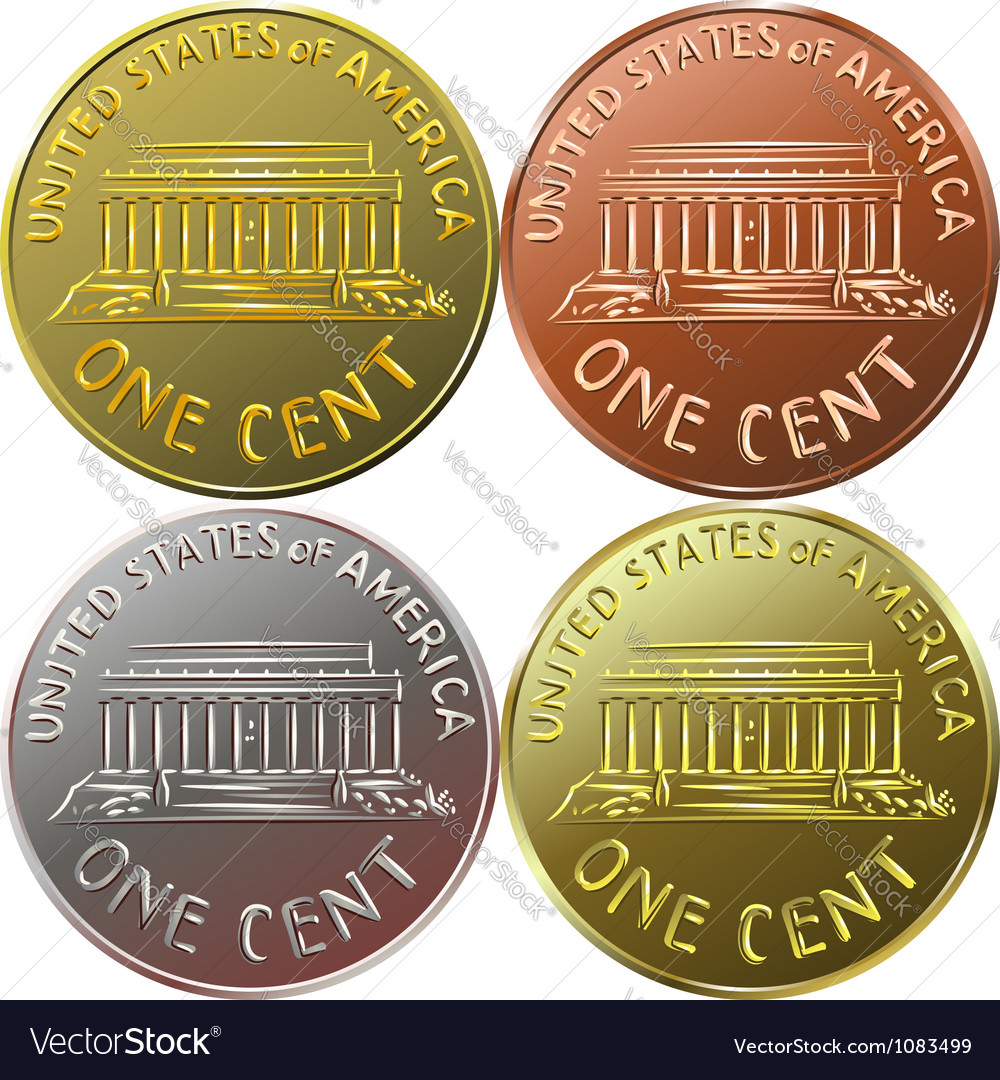 American Gold Money One Cent Coin Royalty Free Vector Image