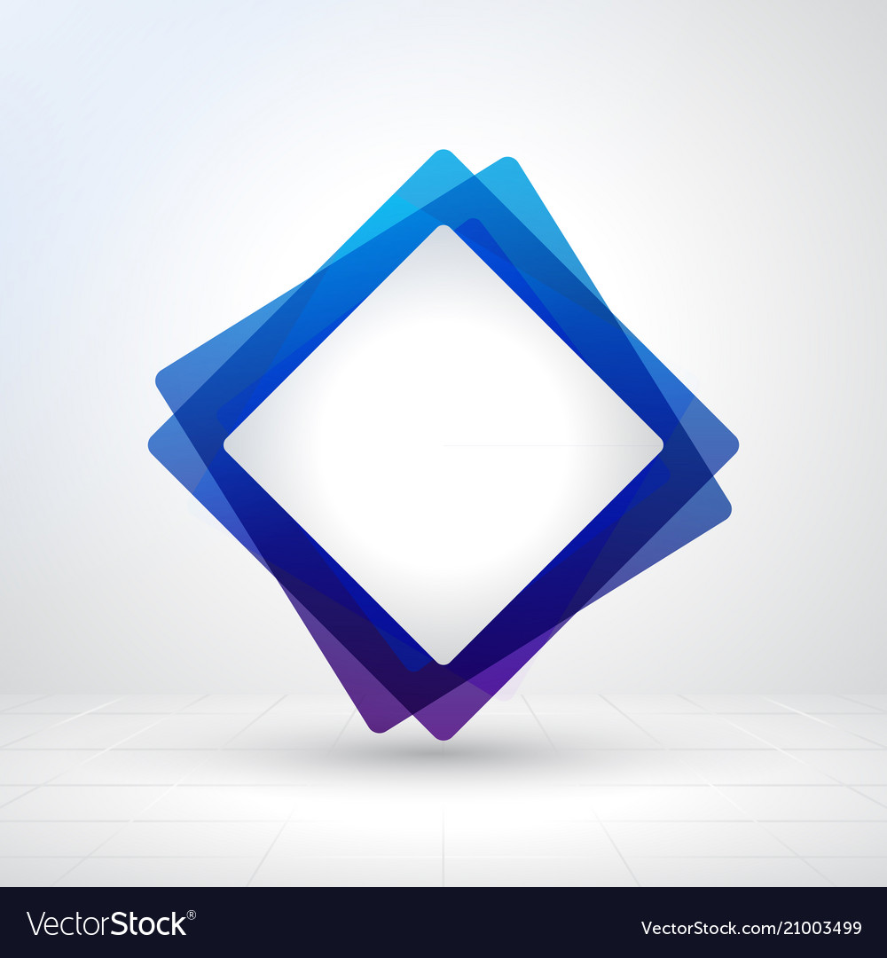 Blue square frame creative layout made with white
