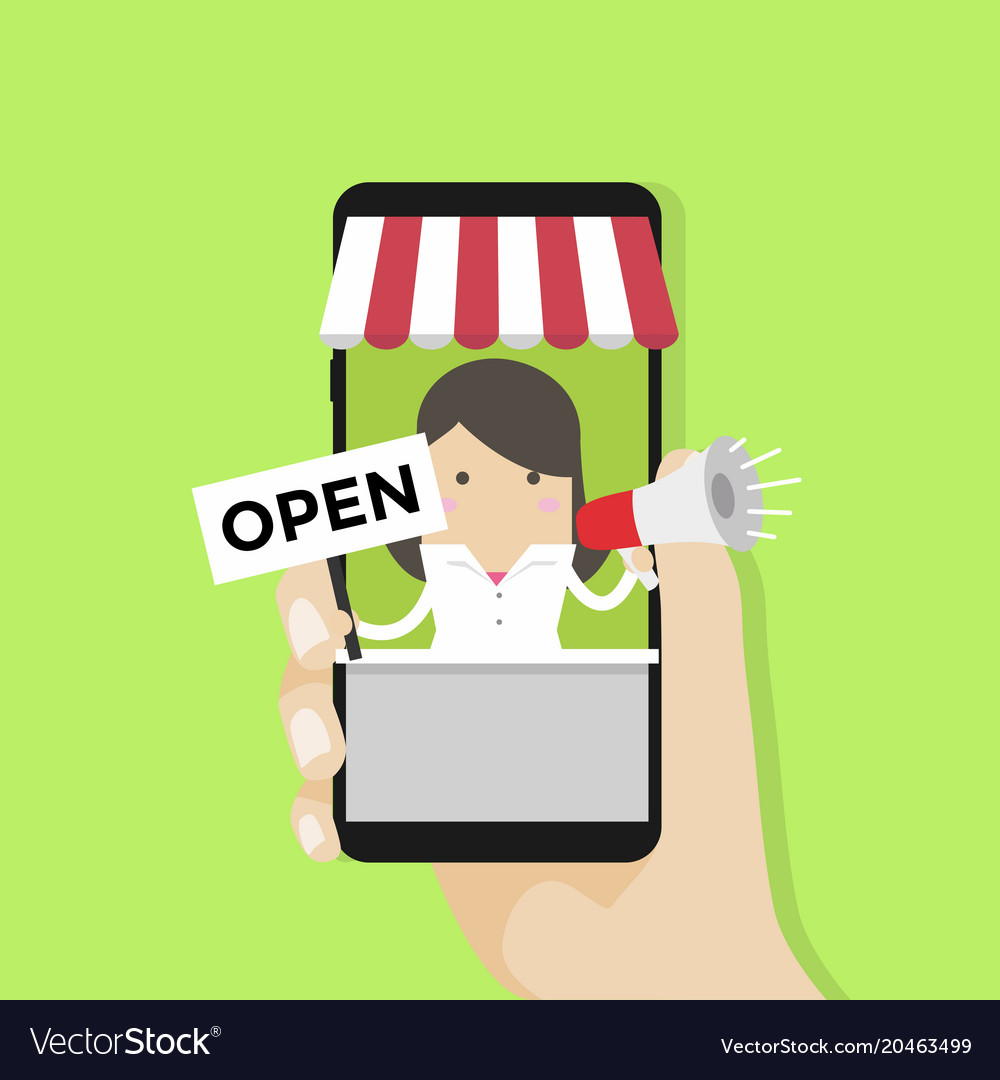 Businesswoman in smartphone with open sign
