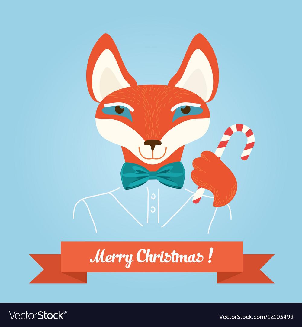 Christmas cute forest fox head logo modern