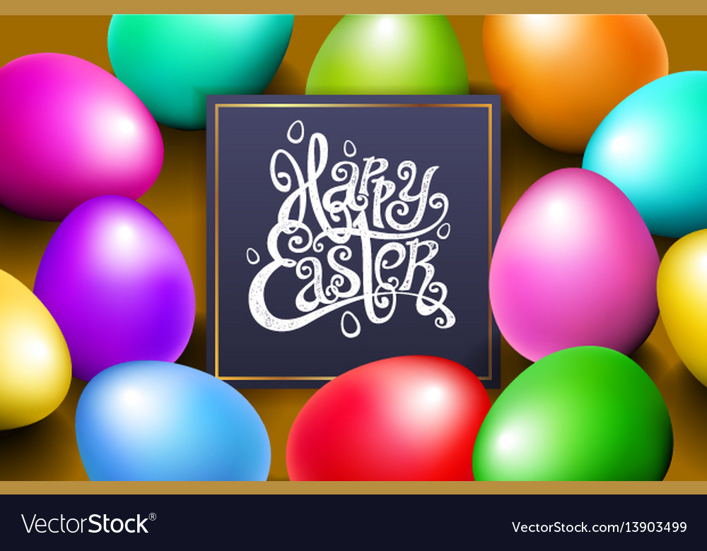 Color eggs happy easter lettering modern