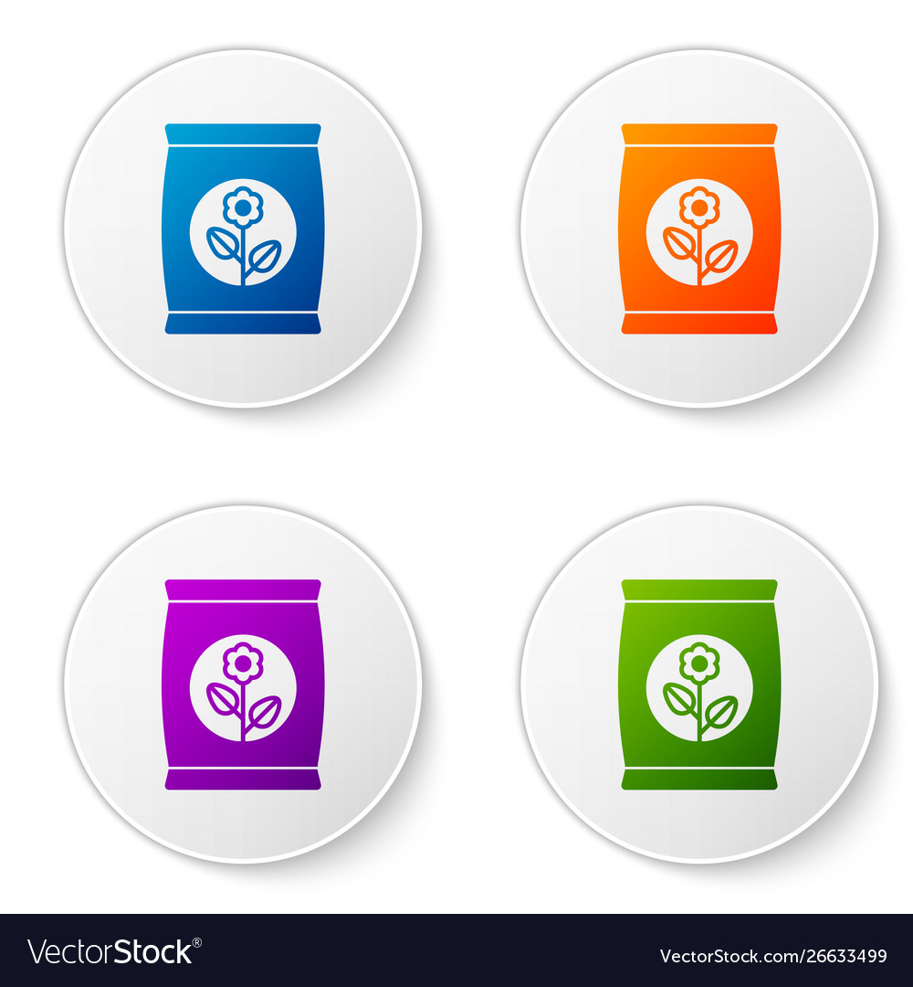 Color fertilizer bag icon isolated on white