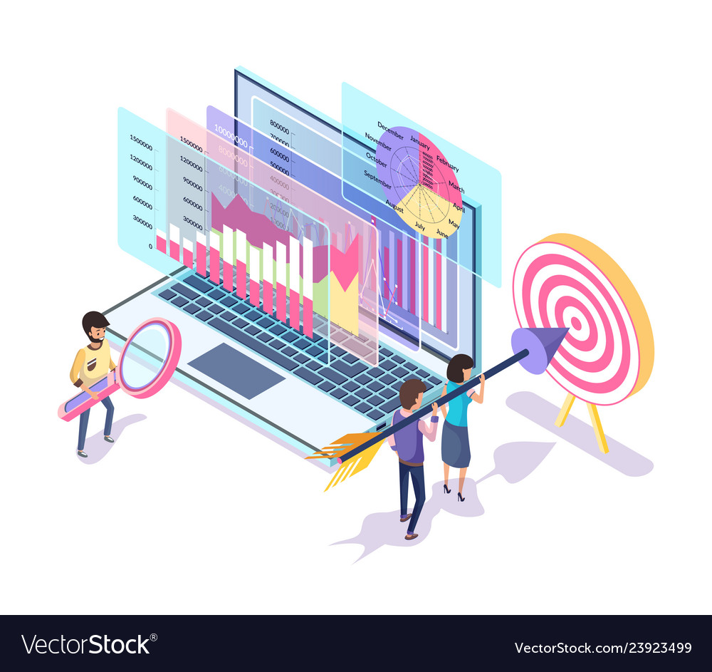Digital marketing tools and process isometric 3d Vector Image