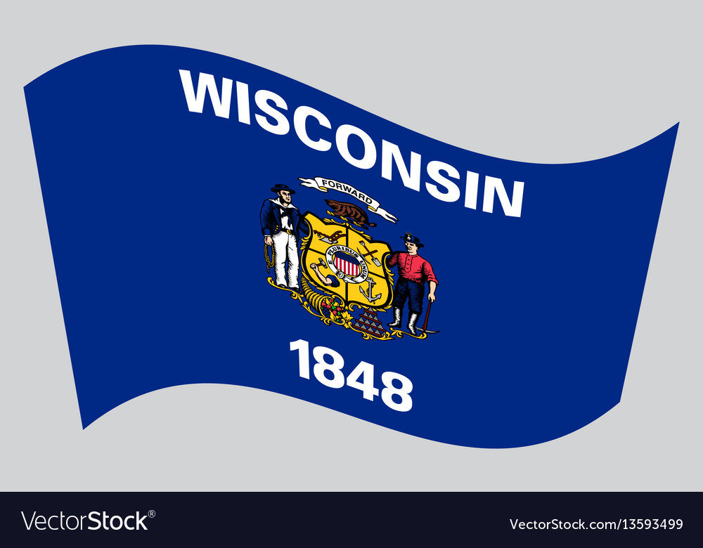 Flag of wisconsin waving on gray background vector image