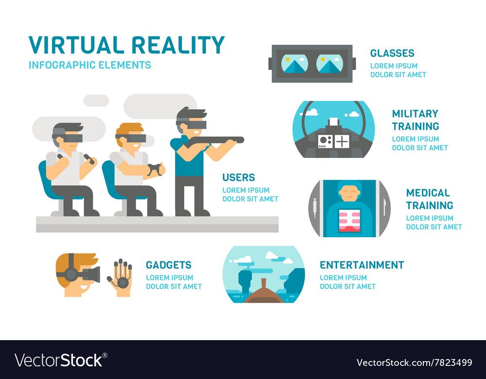 Flat design virtual reality infographic vector image