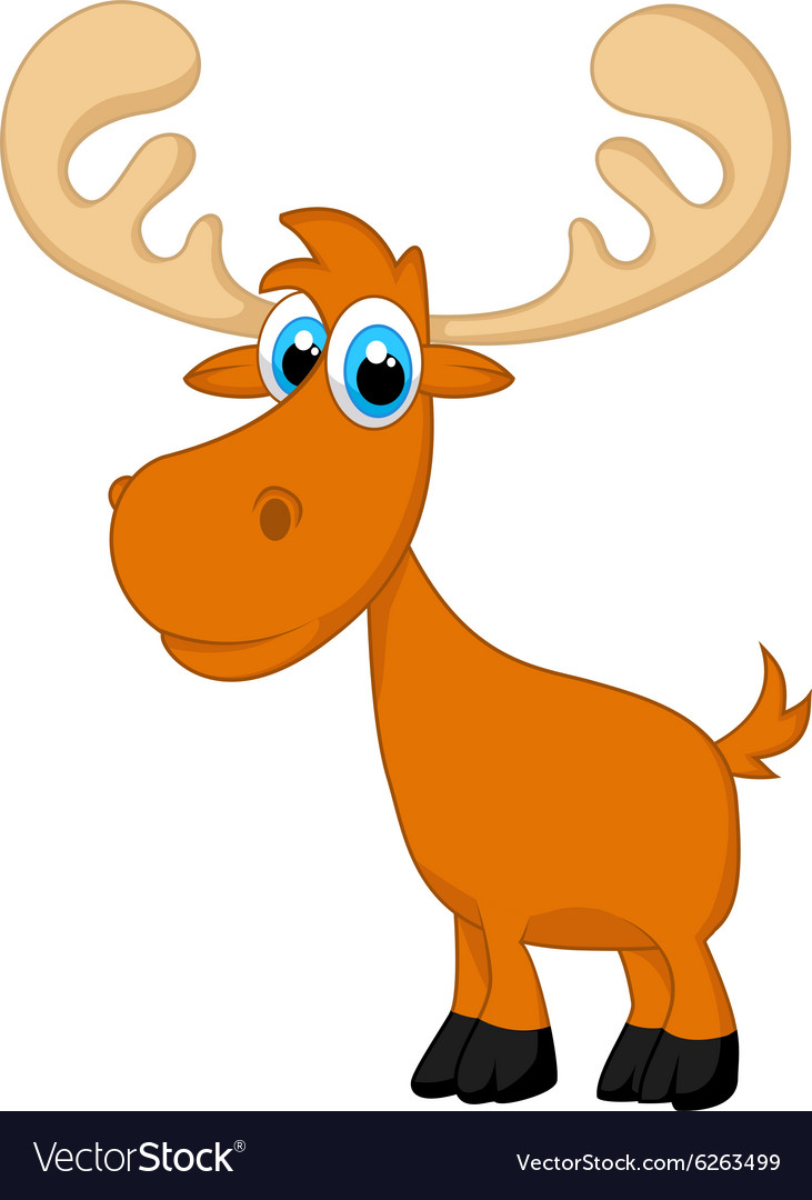 Funny baby moose cartoon vector image