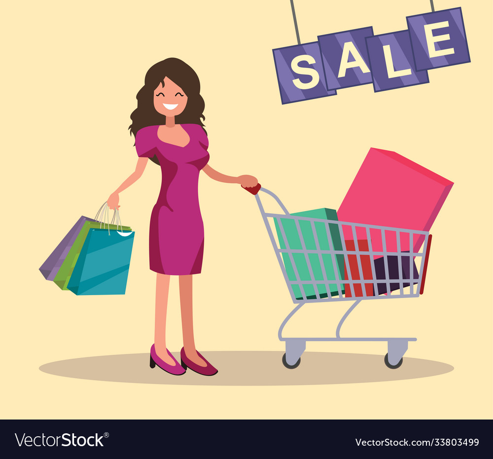 Girl with shopping cart and bags sale