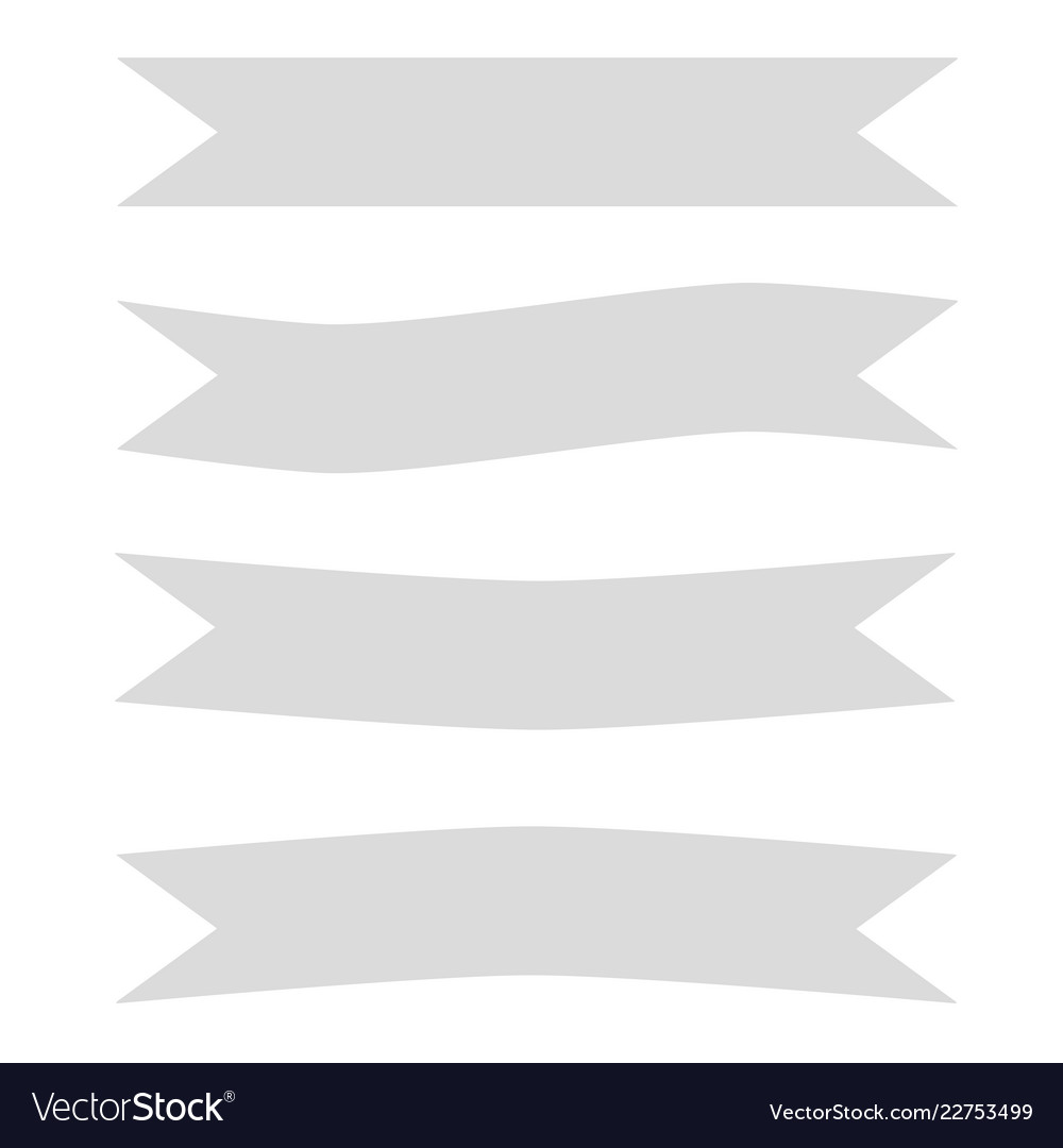 Gray ribbon banner icon on white background gray