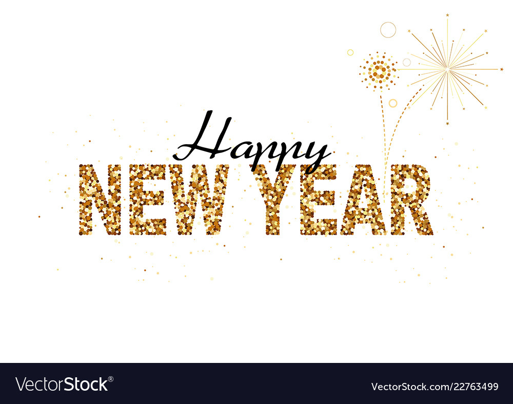 happy new year gold glitter design vector image