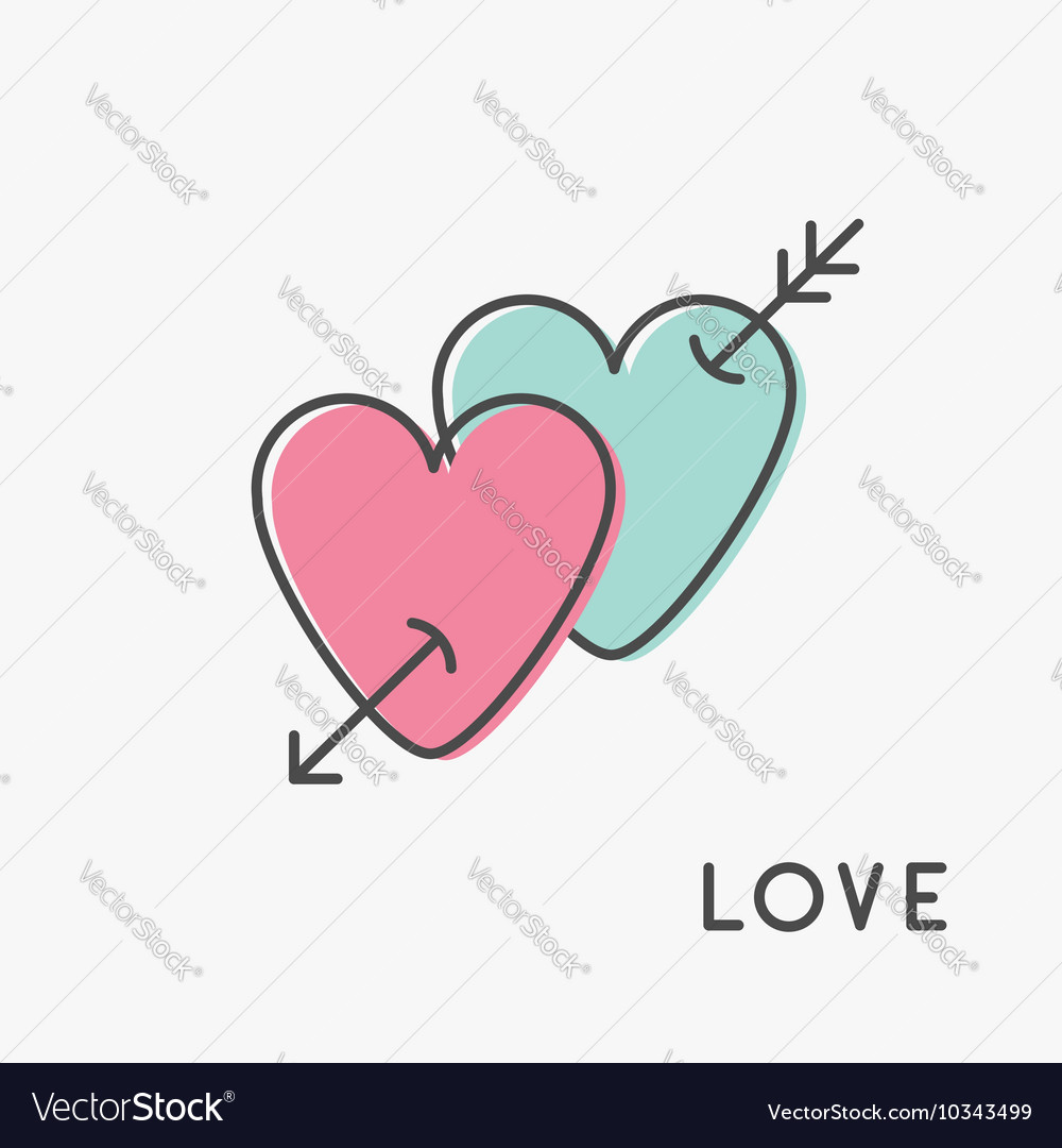 Heart Arrow Sign Symbol Thin Line Icon Set Pink Vector Image