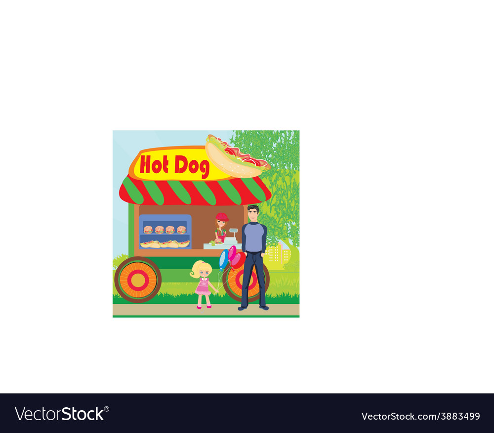 Hot dog booth stand in the city vector image