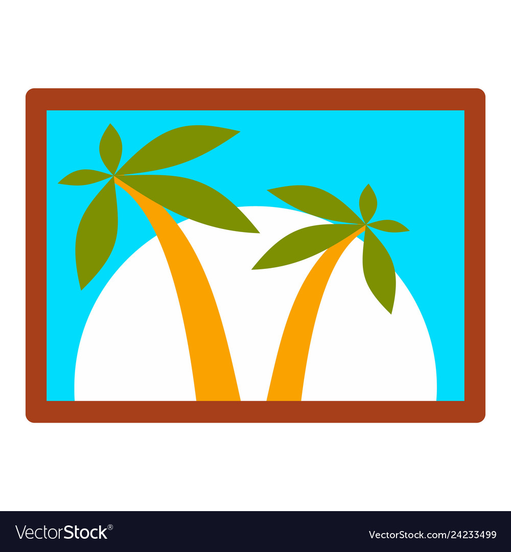 Island wall picture icon flat style