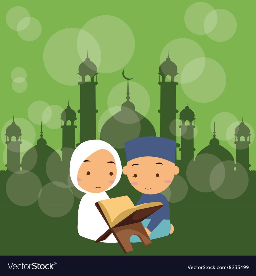 Kids boys and girls read holy quran qoran Islam in