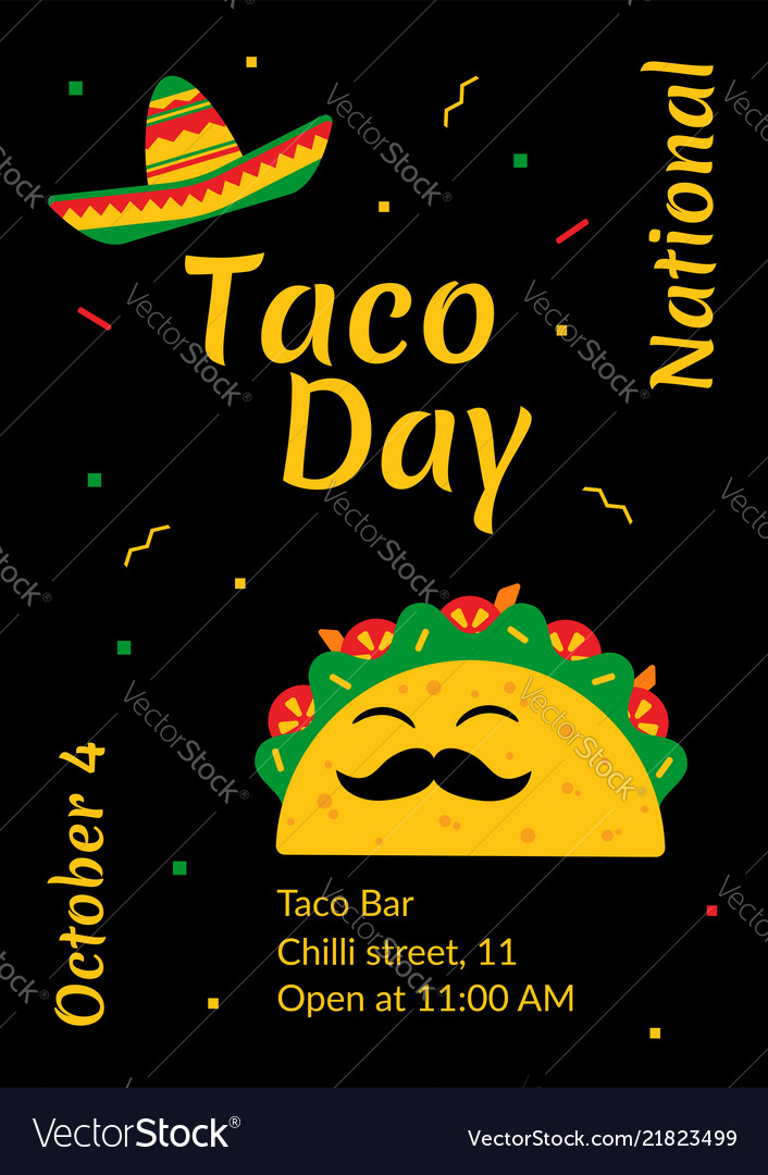 National taco day celebration cafe poster design