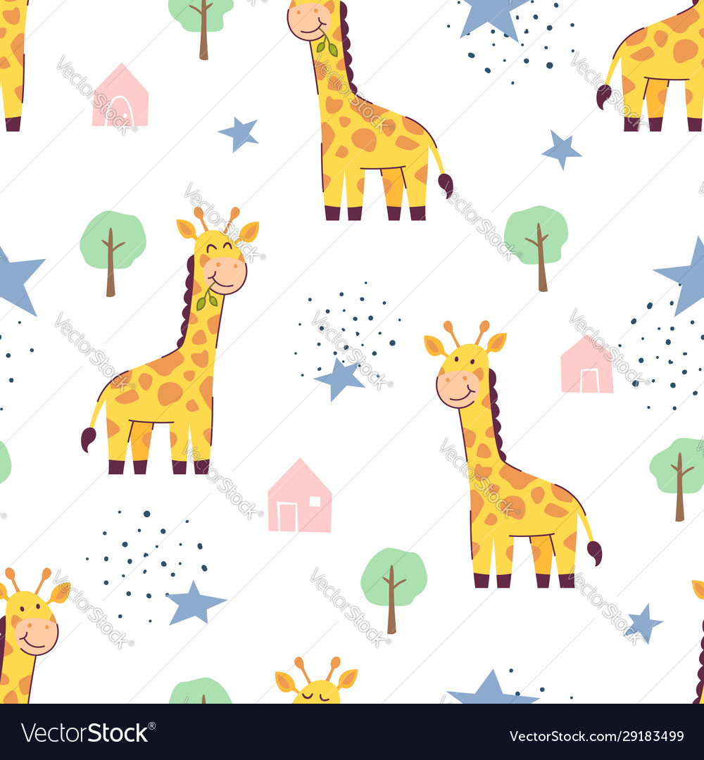 Seamless pattern cute giraffe