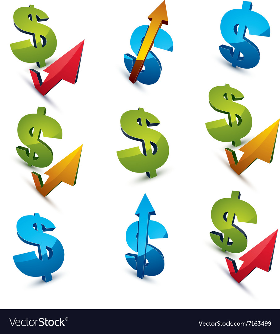 Set of 3d green dollar signs with different arrows