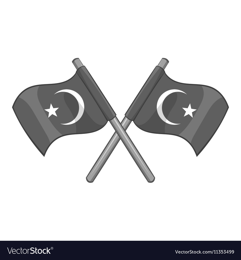 Turkey crossed flags icon gray monochrome style
