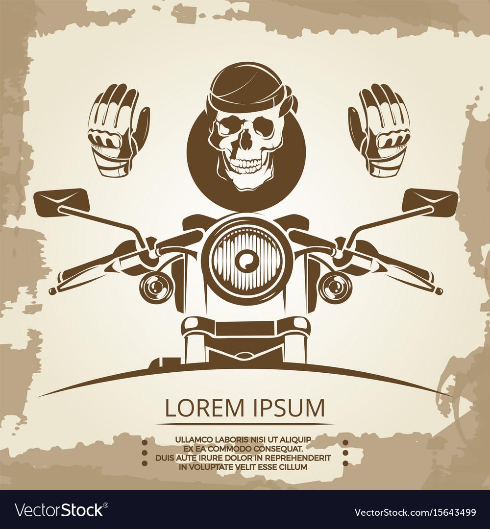 Vintage moto club logo design skull