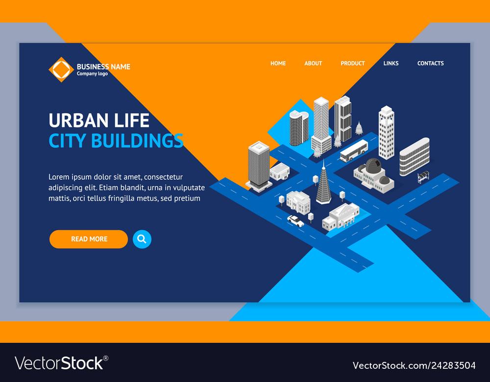 City map concept landing web page template 3d