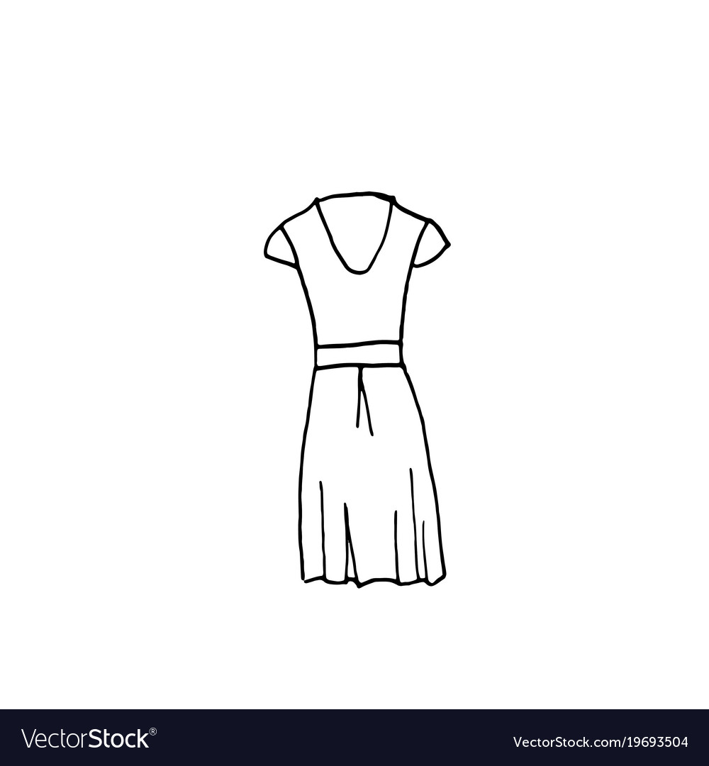 Clothes Line Drawing Of Dress Royalty Free Vector Image