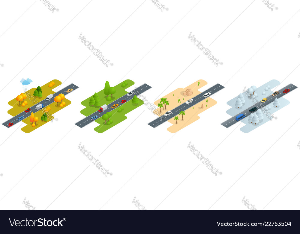 Four isometric pictures road with cars in autumn