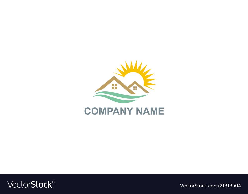 Home roof sun shine natural company logo