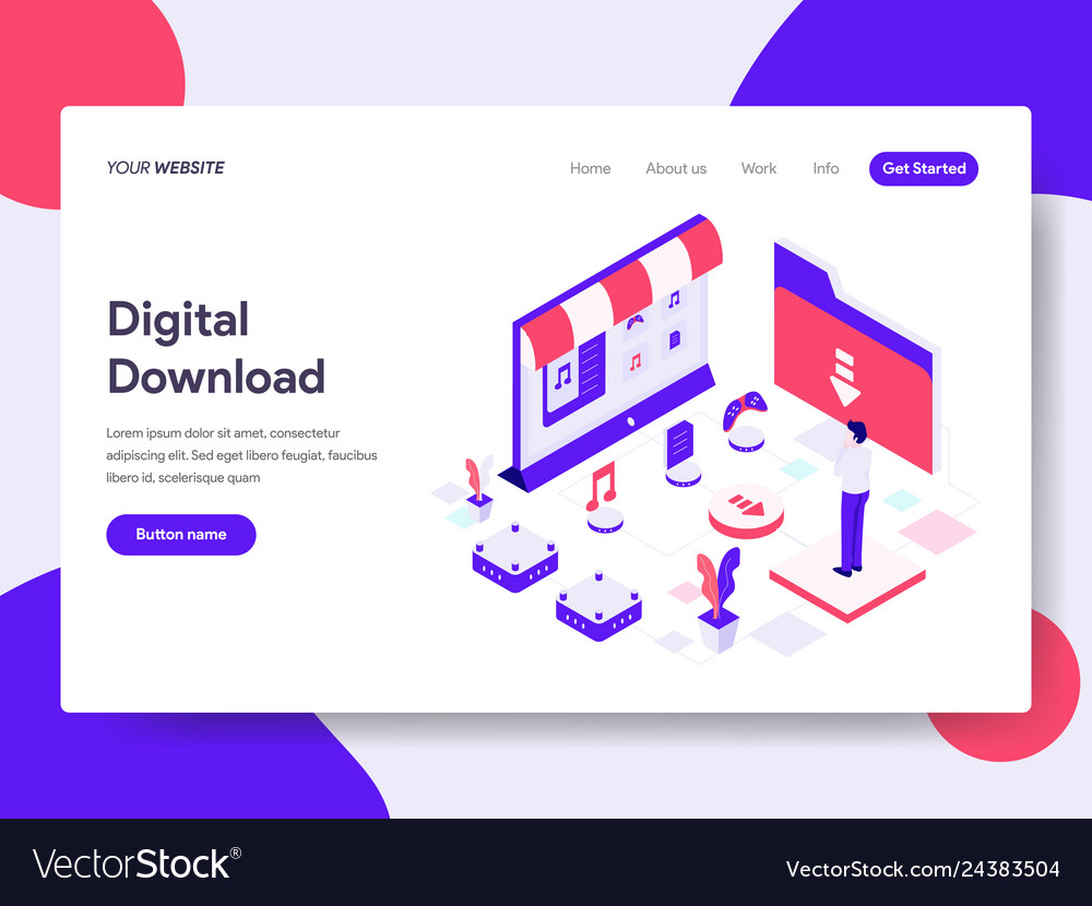 Landing page template of digital download