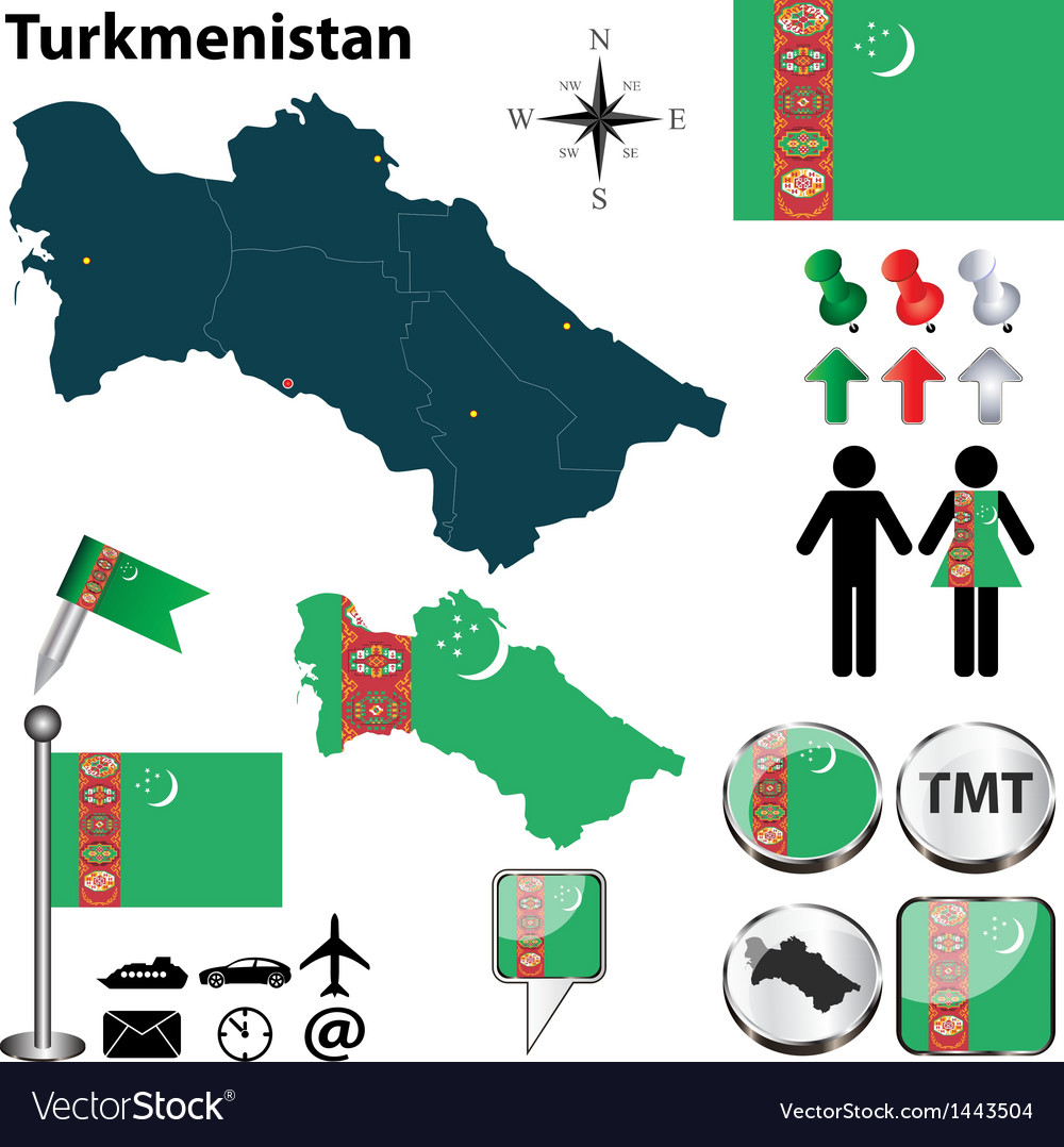 Map of Turkmenistan vector image