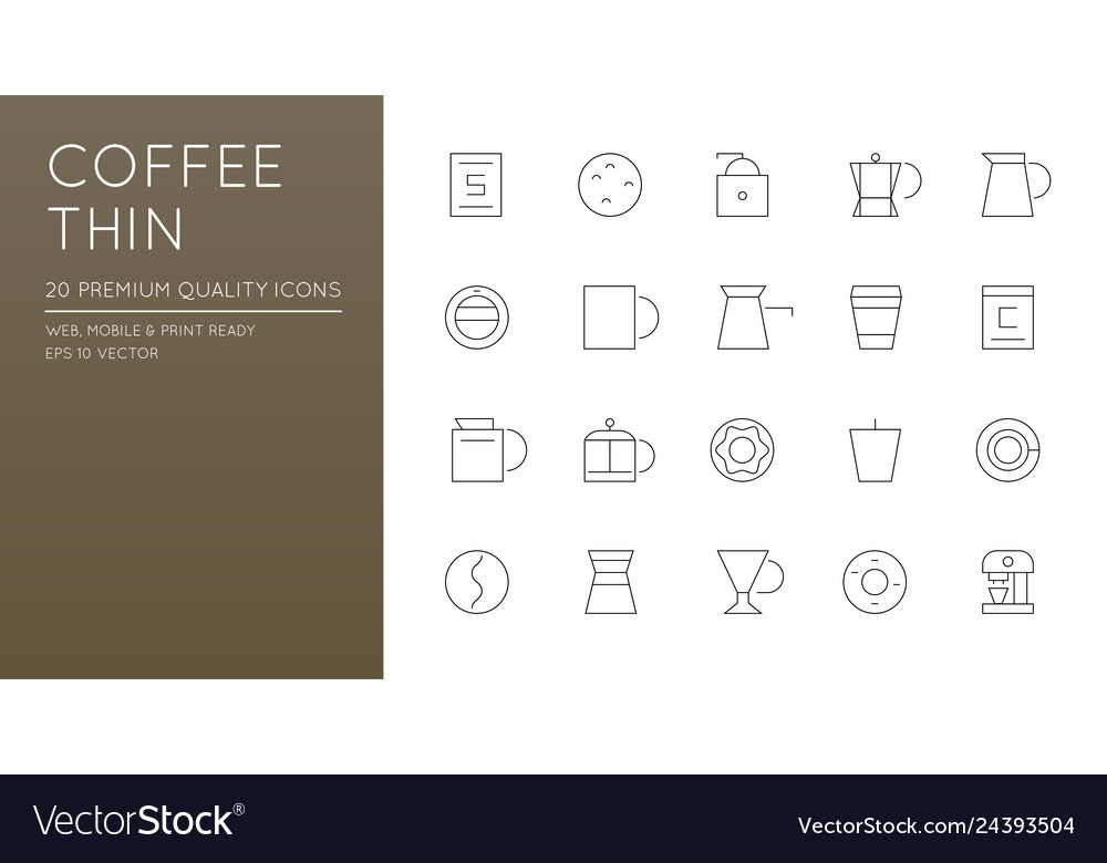 Set of simple line icons for coffee shop cafe