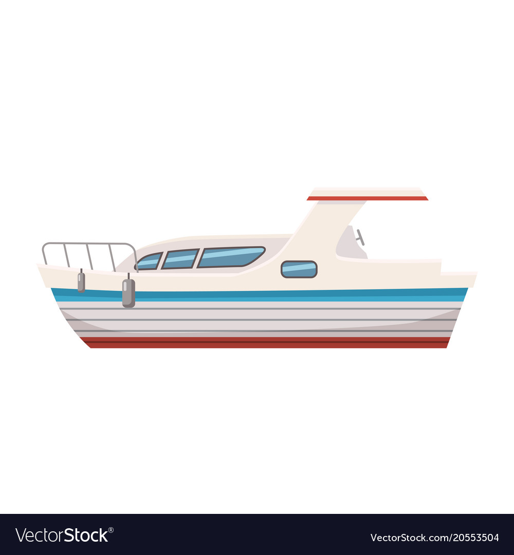 Speed Boat Yacht Cartoon Style Royalty Free Vector Image