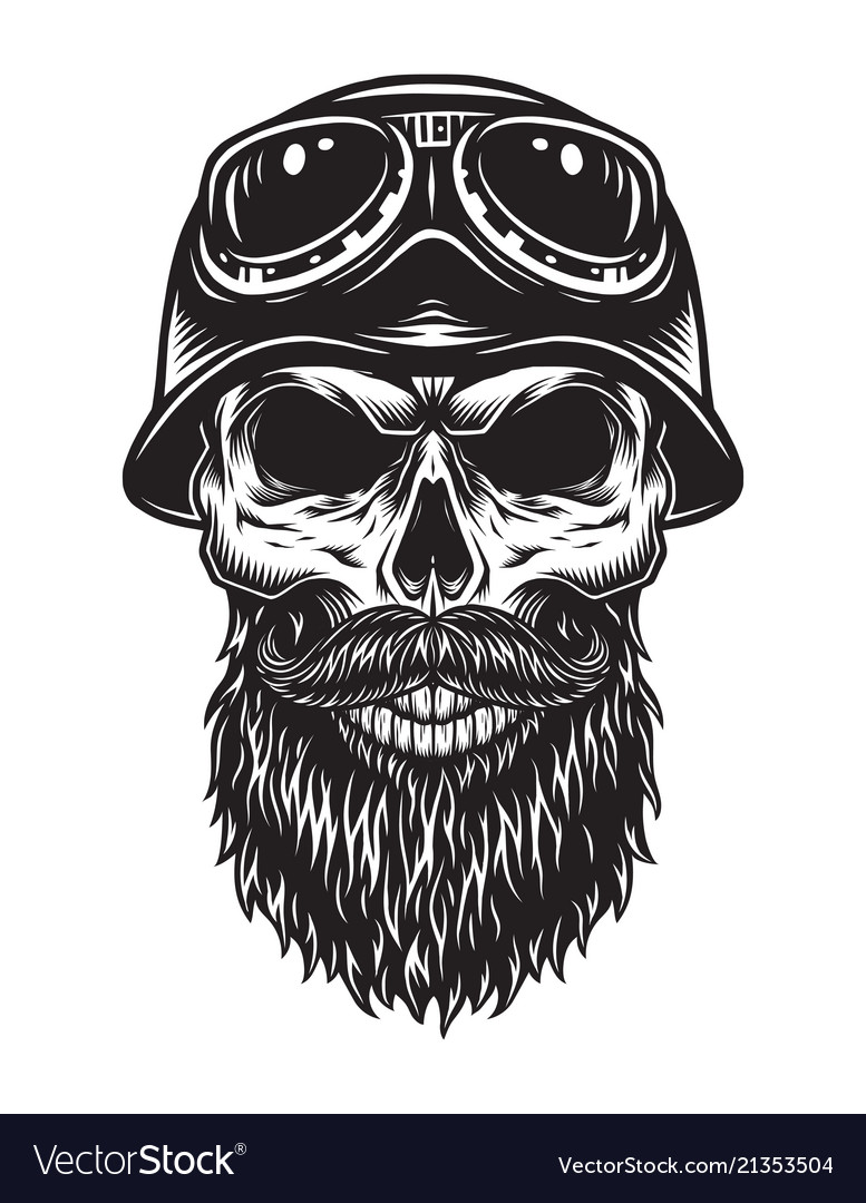 Vintage bearded skull biker concept