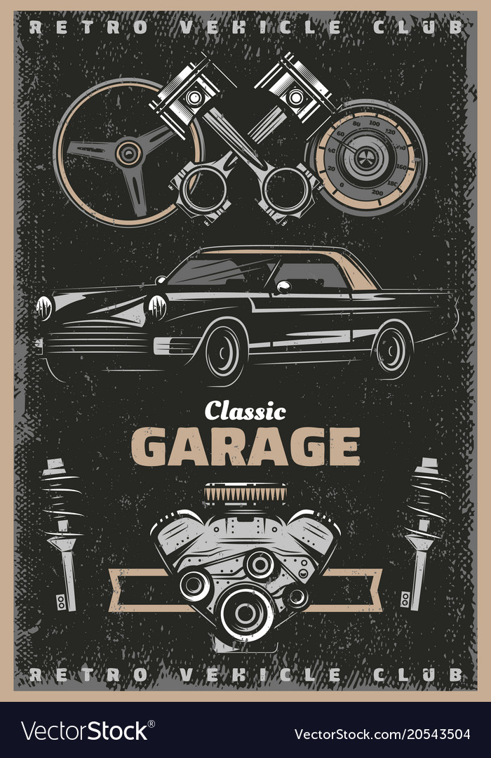 Vintage colored classic garage service poster