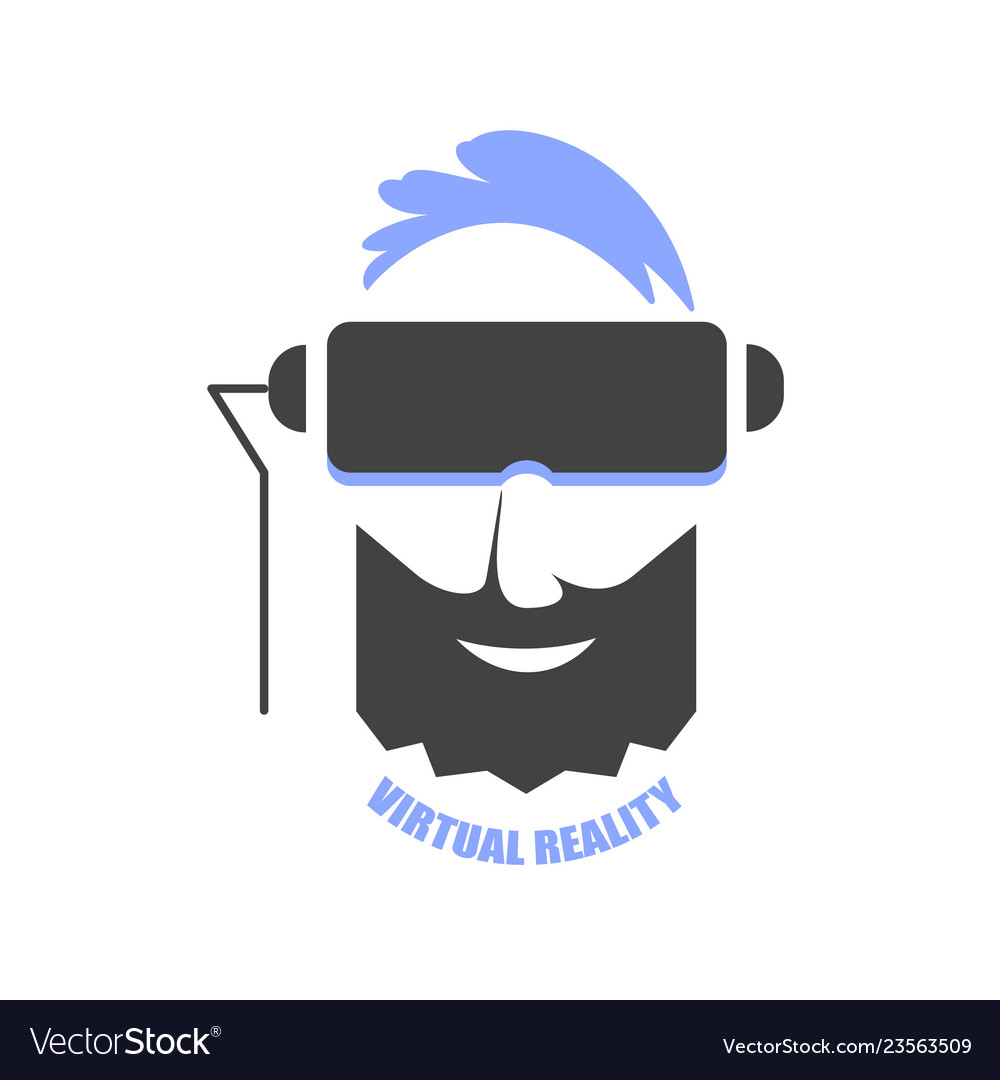 A man with blue hair wearing vr glasses