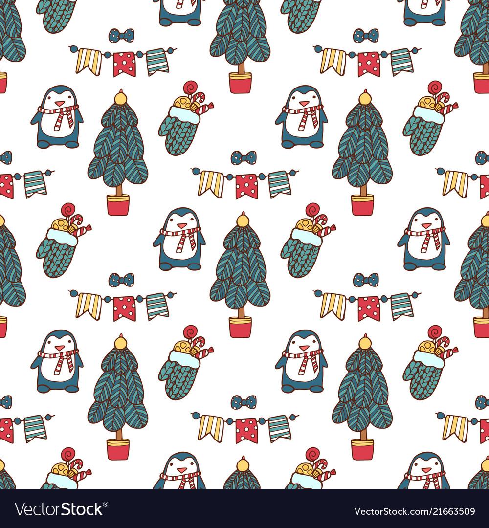 Christmas tree seamless pattern xmas gift
