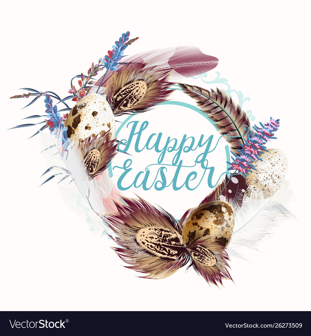 Easter wreath with feathers and florals for design
