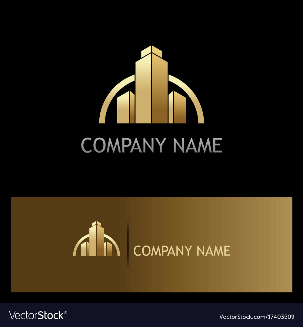 Gold Building Construction Business Logo Vector Image