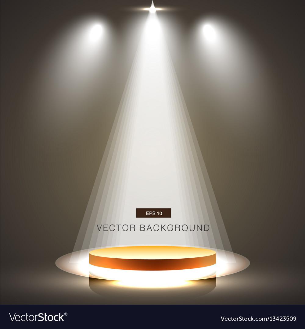 Gold stage with spotlights brown dark background