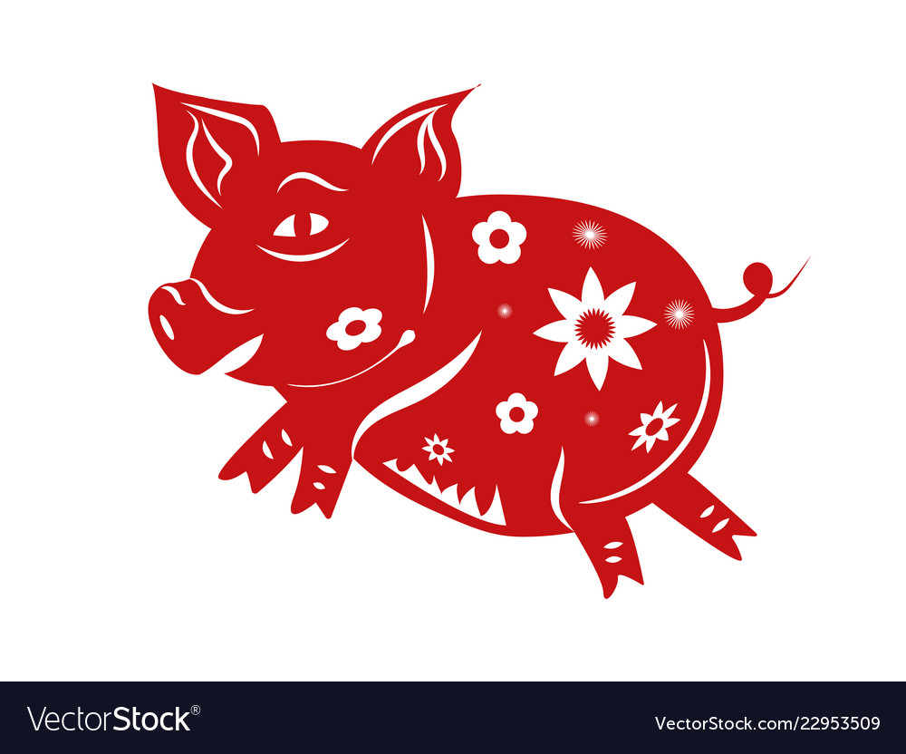 Pig Zodiac Happy Chinese New Year 2019 The Year Vector Image