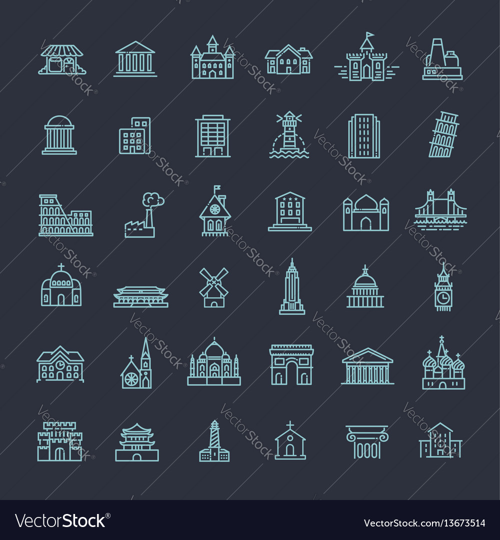 Building icons set government landmarks